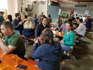 Some of the fun socializing during the WordCamp Kent After Party.