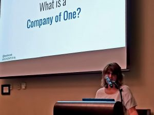 Lee Drozak giving her talk on being a Company of One.