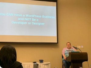 Here I am, delivering my talk at WordCamp Kent.